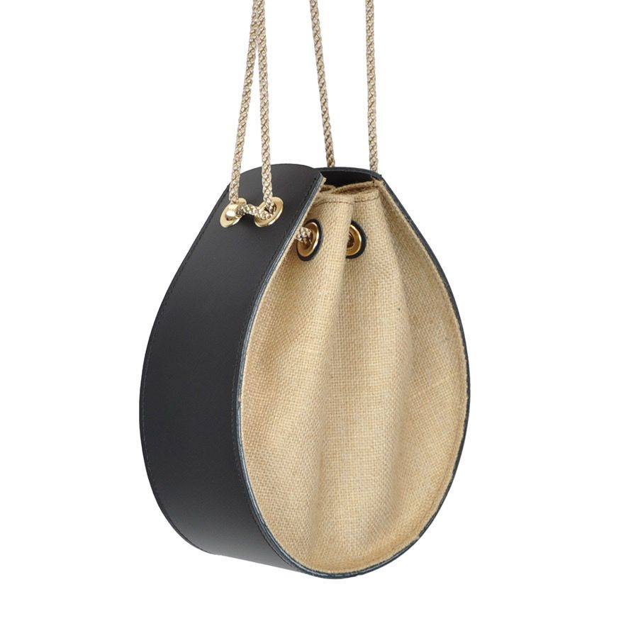 Karen Smith Agency VALERIE - Leather Pouch Bag with Burlap - Detachable Cross Body Strap -  Black - Handmade in Athens
