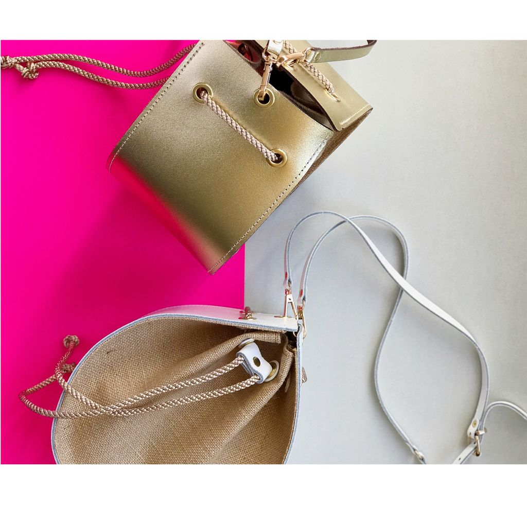 Karen Smith Agency VALERIE -  Leather Pouch Bag with Burlap - Detachable Cross Body Strap - Gold - Handmade in Athens
