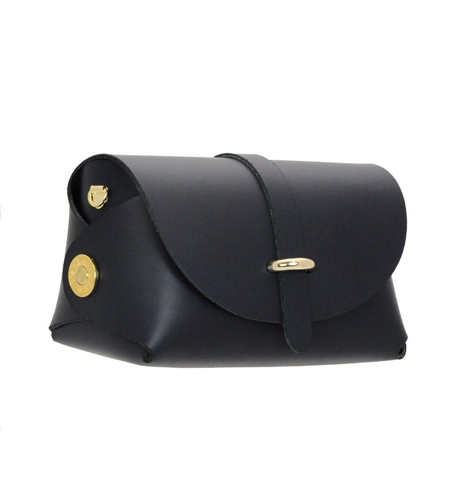 Karen Smith Agency AMBER - Leather Barrel Bag with Detachable Cross Body Strap - Black -  Handmade in Athens