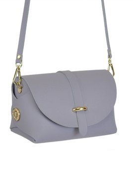 Karen Smith Agency AMBER - Leather Barrel Bag with Detachable Cross Body Strap - Lilac Gray -  Handmade in Athens