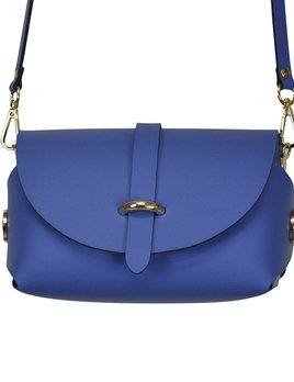 Karen Smith Agency AMBER - Leather Barrel Bag with Detachable Cross Body Strap - Indigo - Handmade in Athens