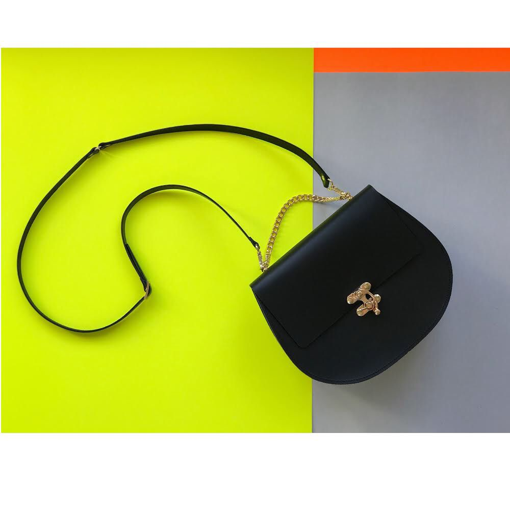 Karen Smith Agency JENNIFER - Saddle Bag with Detachable Leather Cross Body Strap and Gold Chain - Black - Handmade in Athens