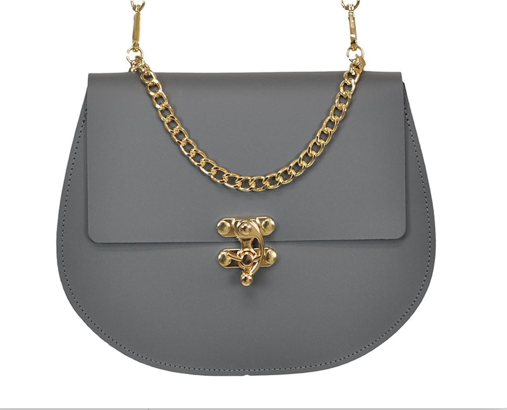 Karen Smith Agency JENNIFER - Saddle Bag with Detachable Leather Cross Body Strap and Gold Chain - Gray - Handmade in Athens