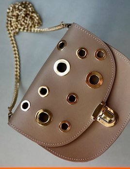 Karen Smith Agency CHARLOTTE - Leather Cross Body Bag with Gold Eyelets Detail -  - Detachable Chain - Nude - Handmade in Athens