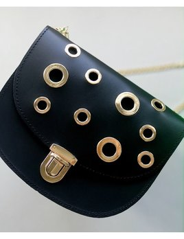 Karen Smith Agency CHARLOTTE - Leather Cross Body Bag with Gold Eyelets Detail - Detachable Chain - Black - Handmade in Athens
