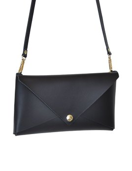 Karen Smith Agency MELANIE - Small Leather Clutch with Detachable Cross Body Strap - Black -  Handmade in Athens