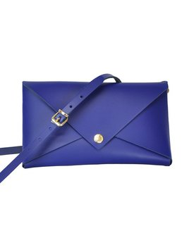 Karen Smith Agency MELANIE - Small Leather Clutch with Detachable Cross Body Strap - Royal Blue -  Handmade in Athens