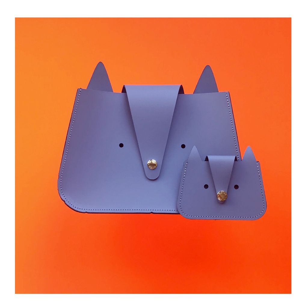 Karen Smith Agency SALLY - Cat Bag with Coin Purse - Lilac Gray - Handmade in Athens