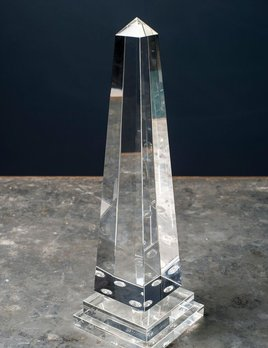 BECKER MINTY BECKER MINTY - Obelisk with Ball Detail - Small - Clear Crystal Glass - H38cm