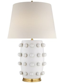 Kelly Wearstler Kelly Wearstler - Linden Medium Lamp in Plaster White with Linen Shade