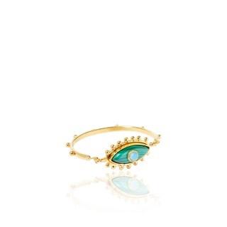 Sylvia Toledano Sylvia Toledano - Third Eye Bracelet - 18ct Gold Plated Brass with Malachite & Chalcedony - Paris