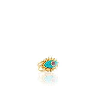 Sylvia Toledano Sylvia Toledano - Third Eye Ring -18ct Gold Plated Brass with Amethyst & Turquoise
