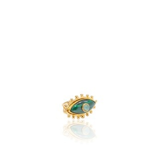 Sylvia Toledano Sylvia Toledano - Third Eye Ring - 18ct Gold Plated Brass with Malachite & Chalcedony