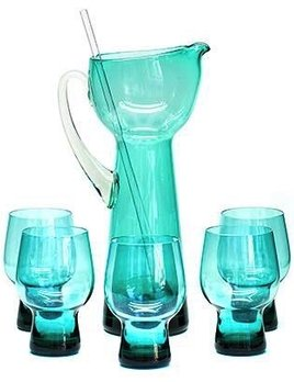 Vintage Mid Century Teal Martini Jug, Stirer and 5 Glasses
