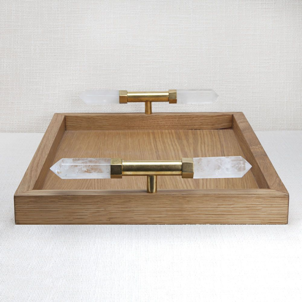 Kelly Wearstler Kelly Wearstler - Gemma Tray - White Oak with Natural Bronze Bezel set Quartz Points