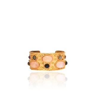 Sylvia Toledano Sylvia Toledano - Cuff Byantine - 18ct Gold Plated Brass with Rose Quartz & Labradorite - Paris