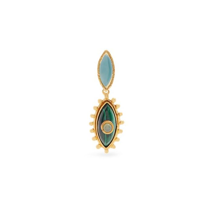Sylvia Toledano Sylvia Toledano - Third Eye Clip-on Earrings -18ct Gold Plated Brass with Malachite & Chalcedony