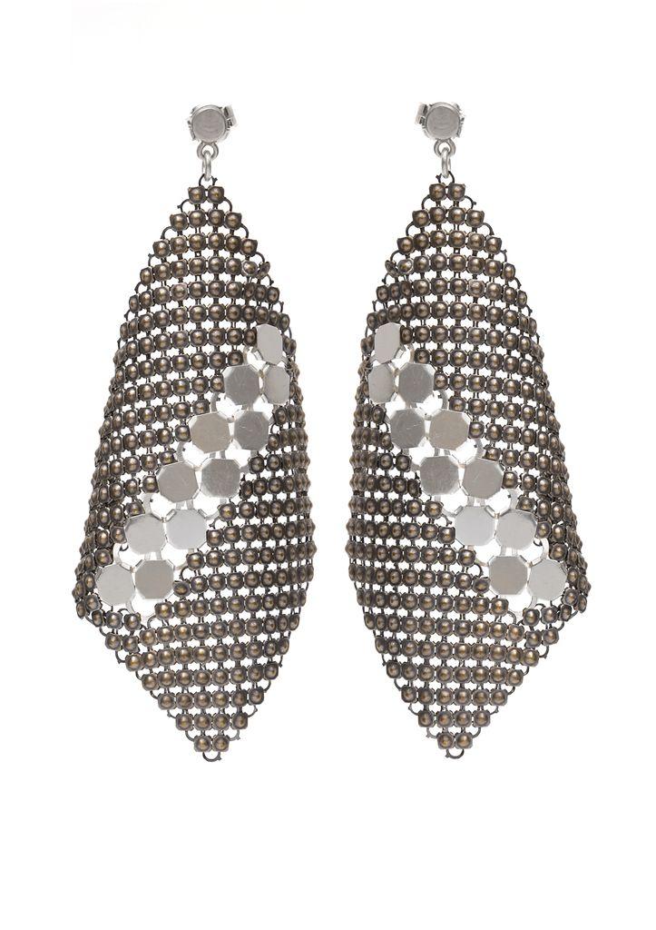 Laura B LAURA B - NEW BASICS - Kite Earrings - Silver Mesh - Sterling Silver Post - Handmade in Spain