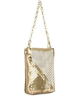 Laura B LAURA B - DIAMOND - Gold Mesh with Gold Leather  Body Bag with Extendable Body Strap - Handmade in Spain