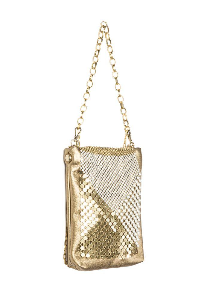 Laura B LAURA B - DIAMOND - Disco Bag - Gold Mesh with Gold Leather - Handmade in Spain