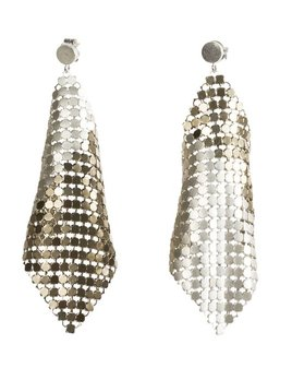 Laura B LAURA B - JOY - Kite Earrings - Gold & White Mesh - Sterling Silver Post - Handmade in Spain