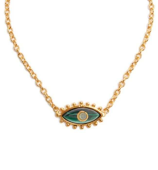 Sylvia Toledano Sylvia Toledano - Third Eye Necklace -18ct Gold Plated Brass with Malachite and Chalcedony - Paris