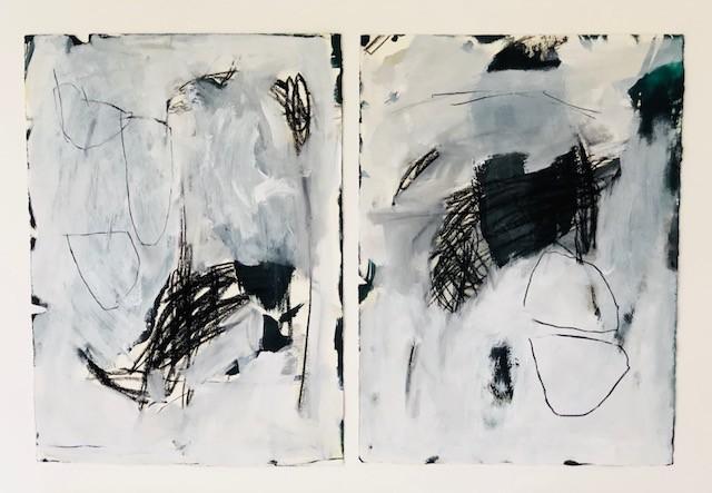 'Version of a Day' - Ink Drawing on Paper - Antonia Mrljak - 94x67cm - Oak Box Frame - 2018