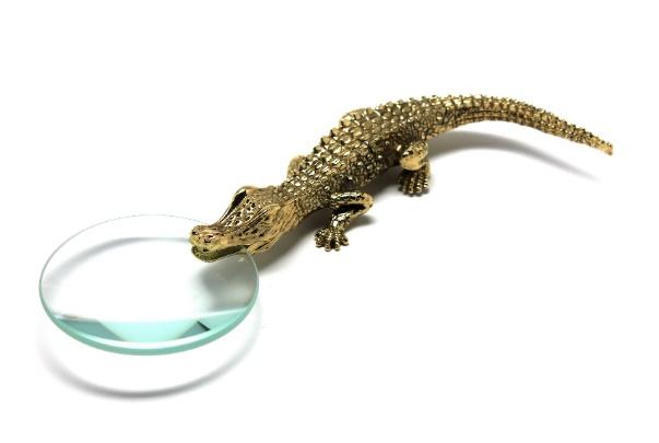 L'Objet L'Objet - 24K Gold Plated Brass Crocodile Magnifying Glass - 19cm