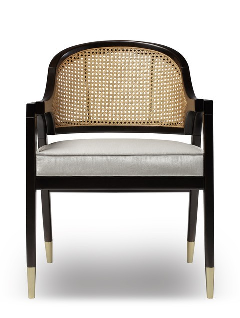 wormley dining chair natural wood or black lacquer and rattan