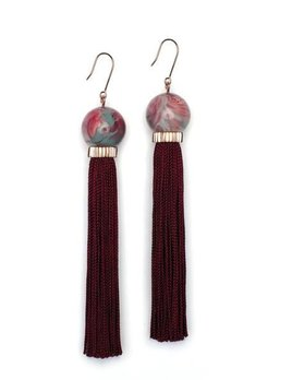 Studio Elke - Tremble Tassel Earrings - Amrita Resin with Mahogany Tassel - Solid Rose Gold Hook
