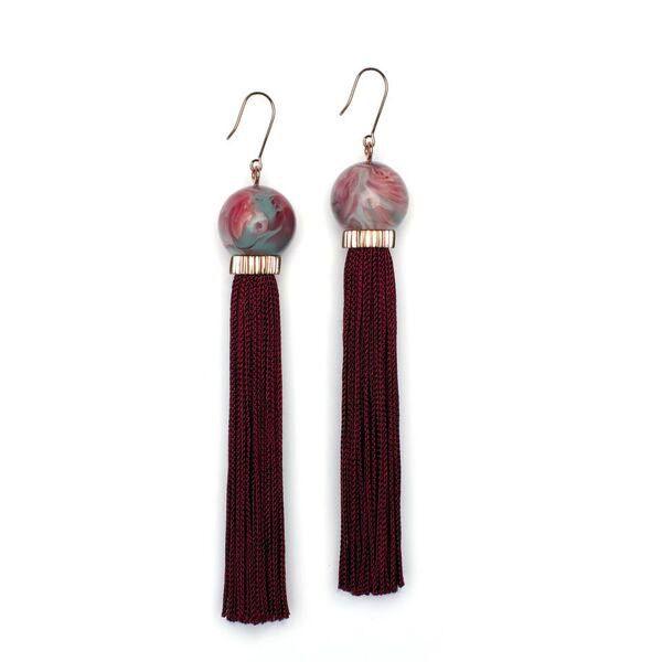 Studio Elke - Tremble Tassel Earrings - Amrita Resin with Mahogany Tassel - Solid Rose Gold Hook