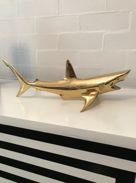 'Big W' - The Great White Shark - Polished Brass - L40xH18xW20cm