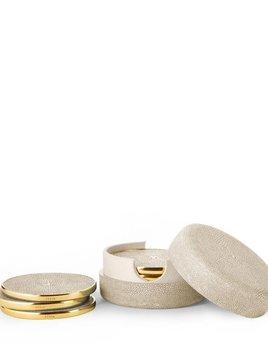 AERIN - Wheat Embossed Shagreen Coaster Set