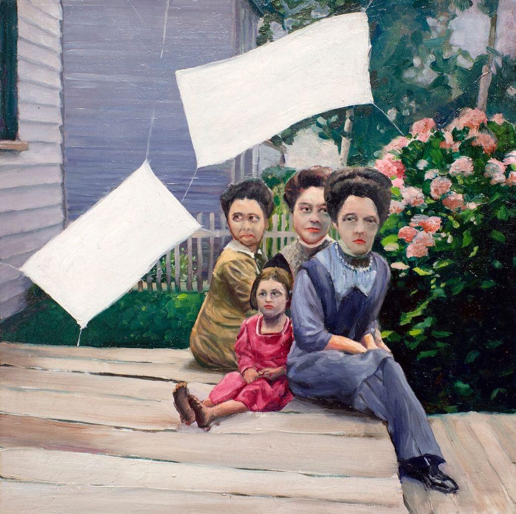 Family of Four - James King - Oil on Board - H30x30cmcm (33x33cm framed) - 2018