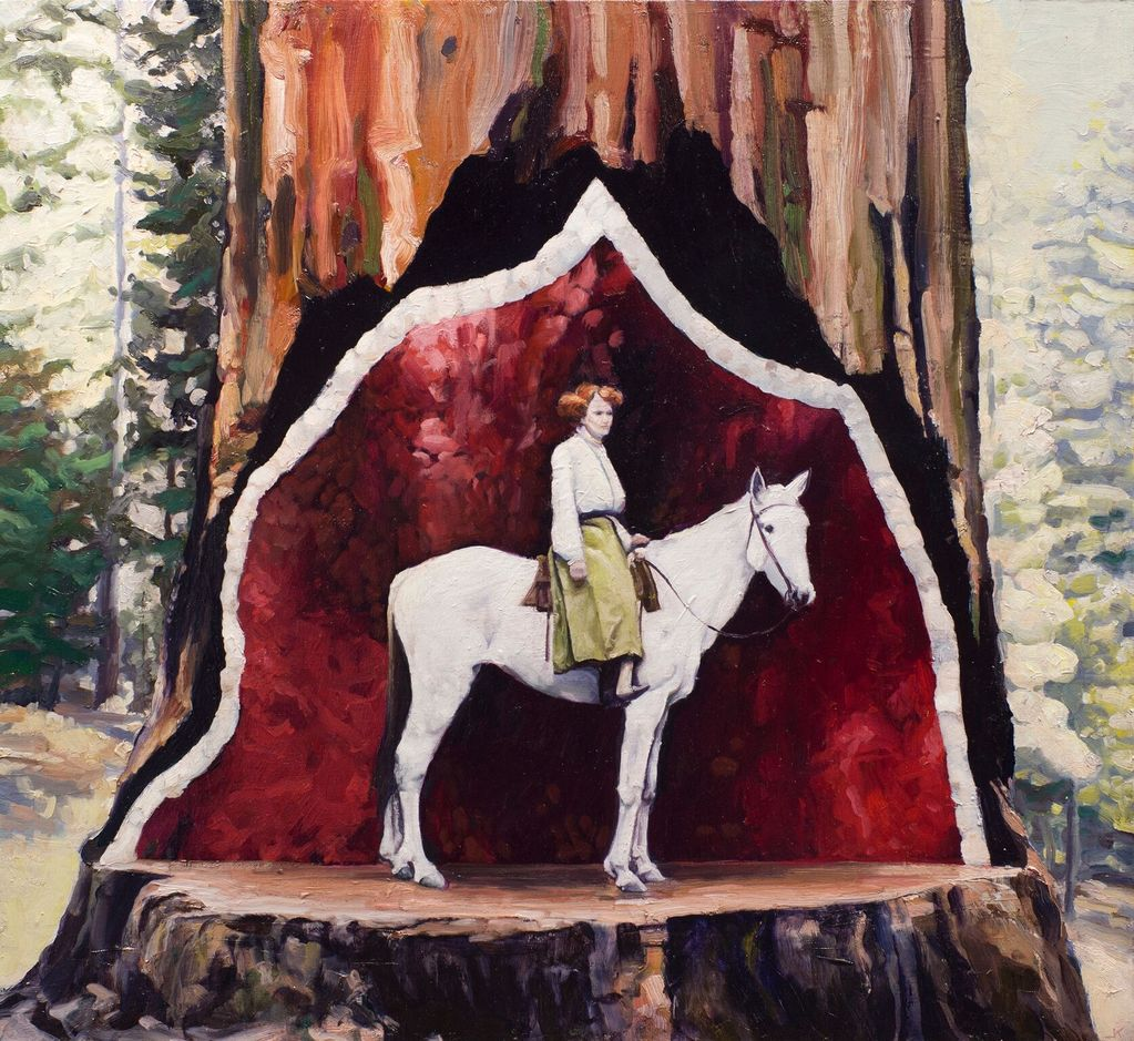Showtime in the Redwoods - James King - Oil on Board - H56x61cm (59x64cm framed) - 2018