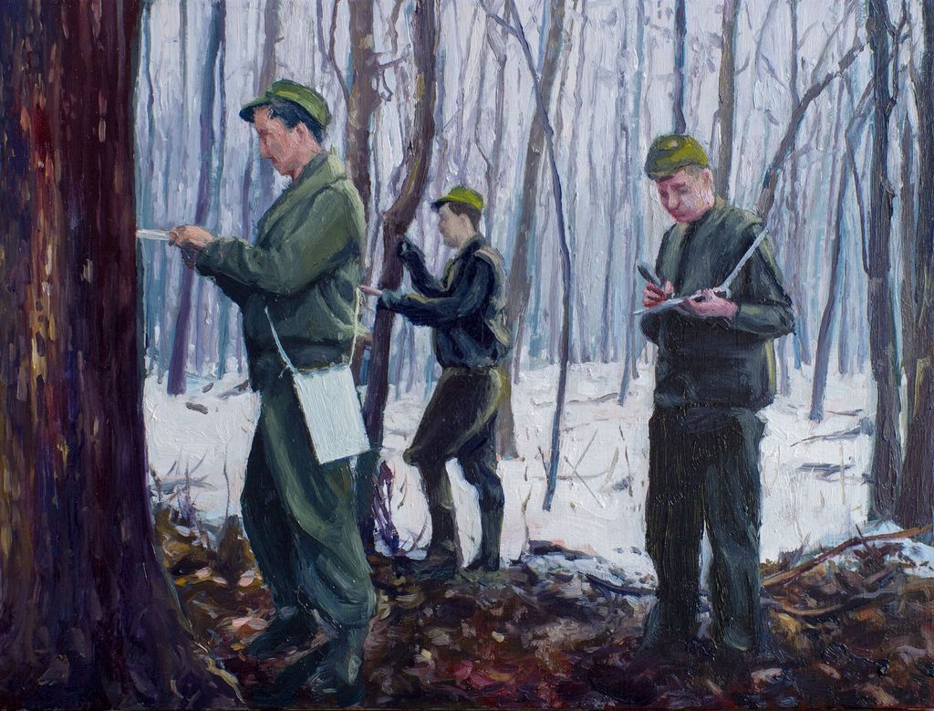 Forest with Three Men - James King - Oil on Board - H15xW20cm (18x24cm framed) - 2018