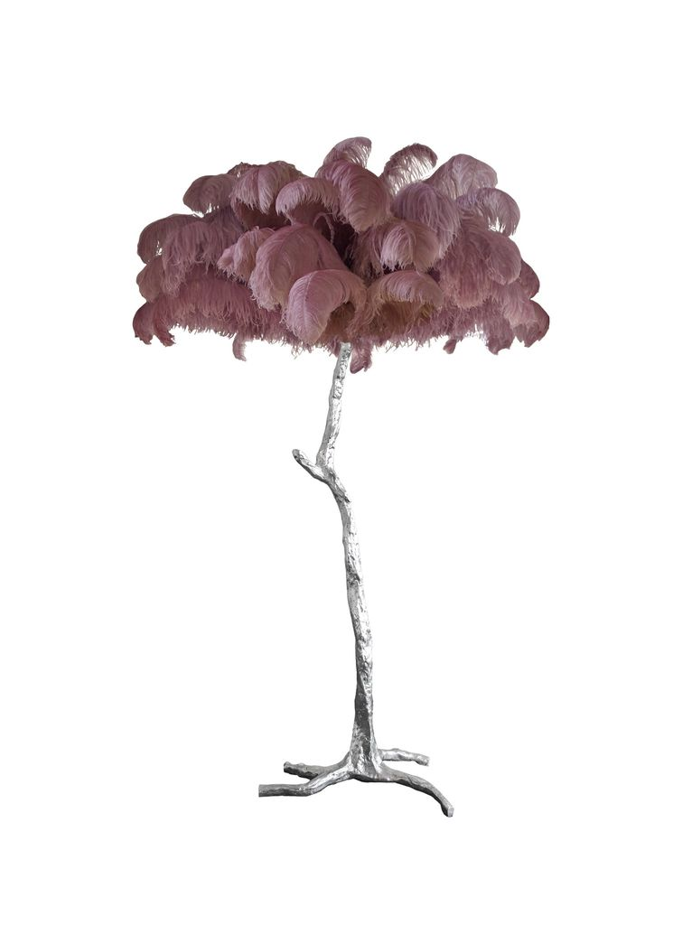 Aynhoe The Ostrich Feather Lamp with Silver Leaf Base