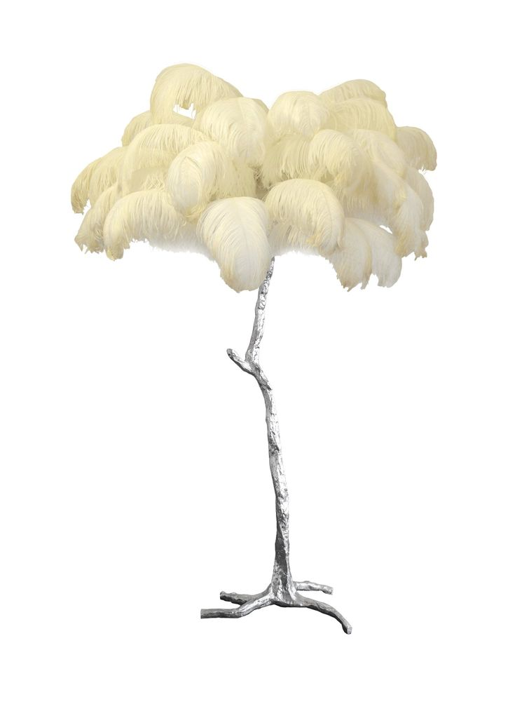 The Ostrich Feather Lamp With Silver Leaf Base Becker Minty