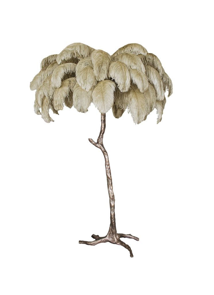 Aynhoe The Ostrich Feather Lamp with Bronze Dipped Base
