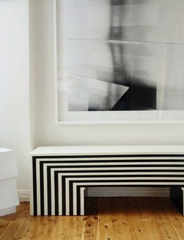 Memphis Bench/Console - Blk White - Paul Wells - 160xD40xH48 - Custom Made to Order