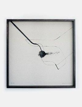 Nook 3 - Zami Artist - Ink and Raw Canvas - 75x75cm - Dark Timber Box Frame 2016