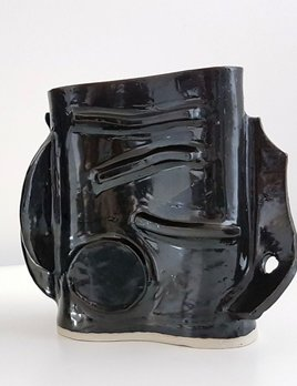 Natalie Rosin Black Ceramic Vase (short) by Natalie Rosin - Australia