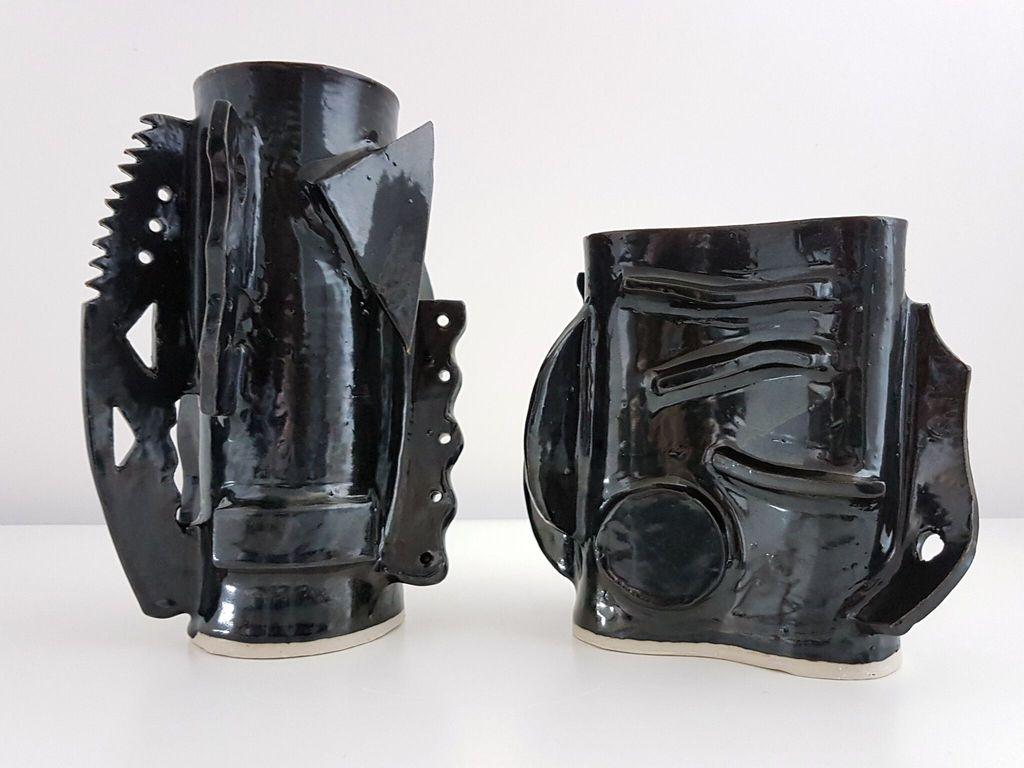 Natalie Rosin Black Ceramic Vase (short) by Natalie Rosin - Australia