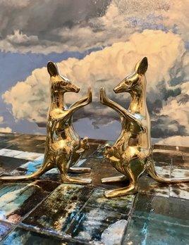 B.M.V.A. Vintage Brass Kangaroo Bookends -  1970
