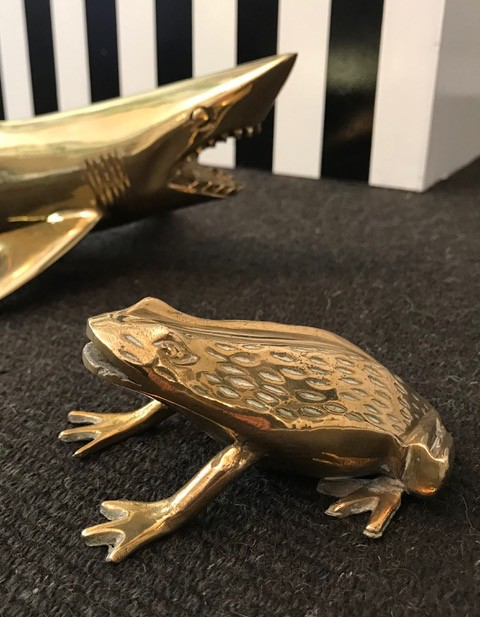 Vintage Brass Cane Toad - L11xH5cm