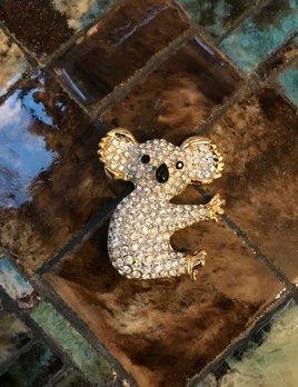 Vintage Gold Toned Clear Rhinestone Koala Brooch - H5cm