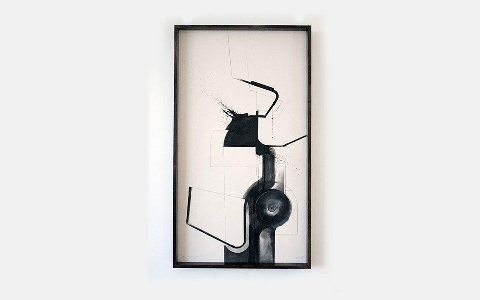 QAWK - Zami Artist - Ink and Raw Canvas - 135x75cm - Dark Timber Box Frame 2016