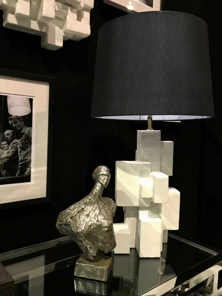 Dan Schneiger Geometric Table Lamp - Dan Schneiger Geometric - Resin Coated Recycled Materials - White - H46cm - May Vary Slightly From the Image Shown