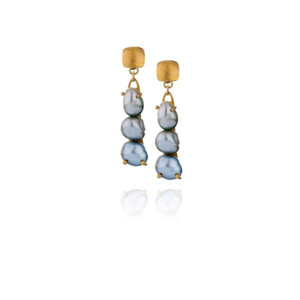 Lisa Black Jewellery - Multi Colour Black Tahitan Drop Earrings - 22ct gold - Handmade in Australia