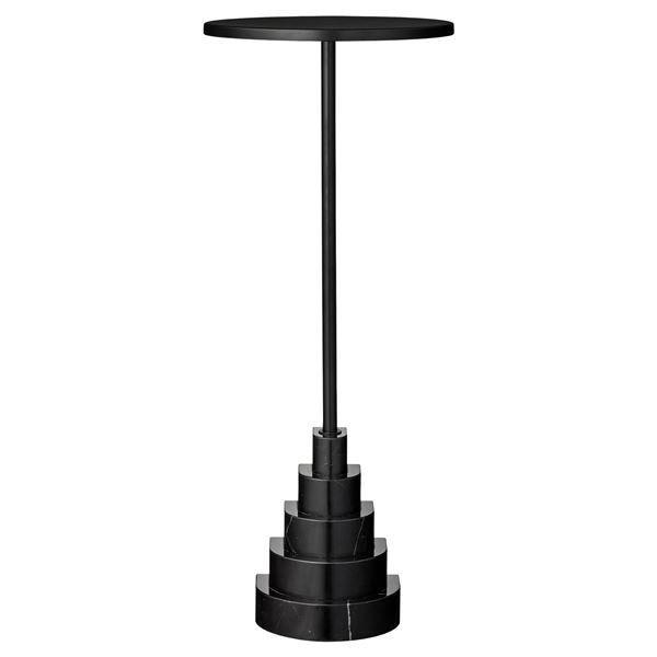 AYTM Solum Table - Black - H78xD32 - Painted Metal and Granite